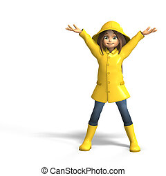 fun in rain - cute litte toon girl has fun in rain. with...