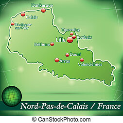 Map of North-pas-de-calais with abstract background in green