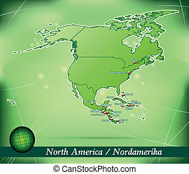 Map of North America with abstract background in green