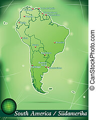 Map of South America with abstract background in green