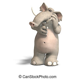 toon elephant thinking - a cartoon elephant is thinking...