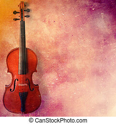 Violin on grunge background with space