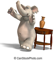 behave like a bull in a china shop - a funny toon elephant...