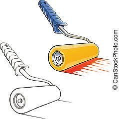 roller brush vector illustration isolated on white...