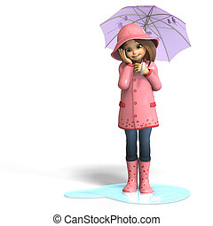 fun in rain - cute litte toon girl has fun in rain with...