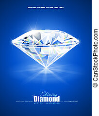 diamond on blue background vector illustration EPS10...