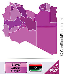 Map of Libya with borders in violet