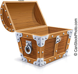 vintage wooden chest with open lid vector illustration...