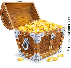 vintage wooden chest with golden coin vector illustration...