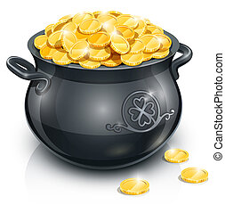 pot with gold coin for Patrick's day. vector illustration...