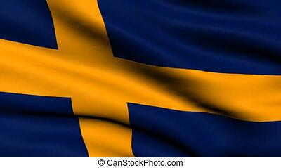 Flag of Sweden looping background - National flag of Sweden...