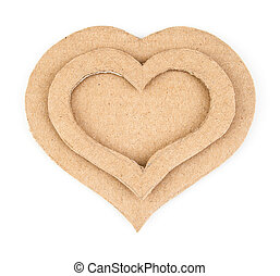 Handmade hearts applique made of cardboard Isolated on white...