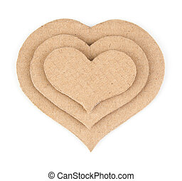 Handmade applique made of cardboard heart Isolated on white...