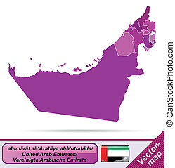 Map of United Arab Emirates with borders in violet