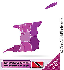 Map of Trinidad and Tobago with borders in violet