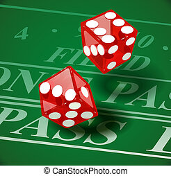 Playing die on casino table Eps10 vector illustration