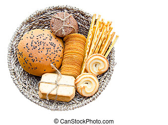 Whole wheat bread and biscuits in Basket weave isolated on...