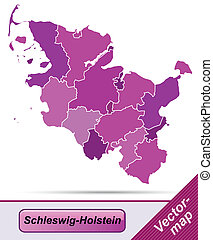 Map of Schleswig-Holstein with borders in violet