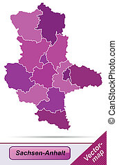 Map of Saxony-Anhalt with borders in violet
