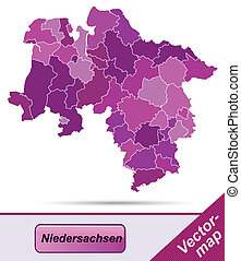 Map of Lower Saxony with borders in violet