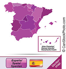 Map of Spain with borders in violet