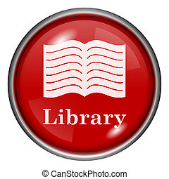 Library icon - Red shiny glossy icon on white background
