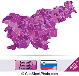 Map of Slovenia with borders in violet