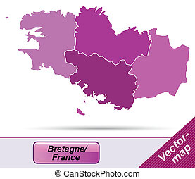 Map of Brittany with borders in violet