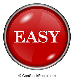 Easy icon - Red shiny glossy icon on white background