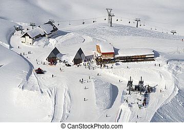 Winter mountain ski resort - Winter mountain ski resort...