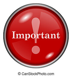 Important icon - Red shiny glossy icon on white background
