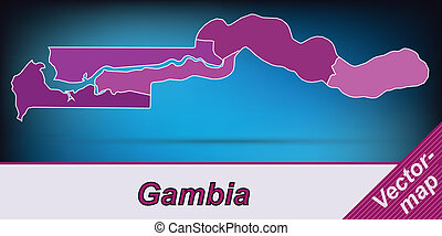 Map of Gambia with borders in violet