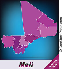 Map of mali with borders in violet