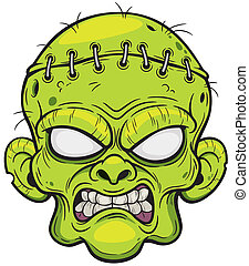 Zombie face - Vector illustration of Cartoon Zombie face