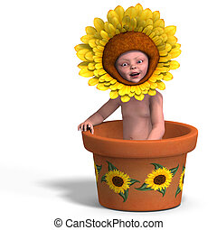 baby in flower pot - rendering of a young baby in a...