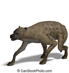 hyena - rendering of a hyena with clipping path and shadow...