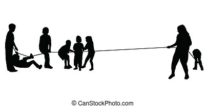 children pulling a rope vector