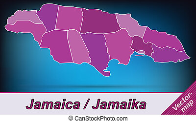 Map of Jamaica with borders in violet