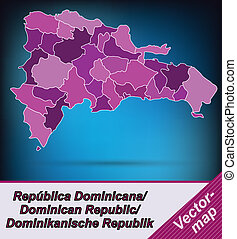 Map of Dominican Republic with borders in violet