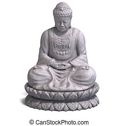 Buddha - renderinf of a buddha statue with Clipping Path,...