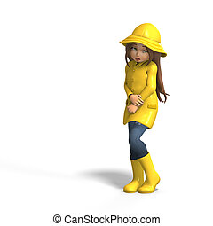 fun in rain - cute litte toon girl has fun in rain with...