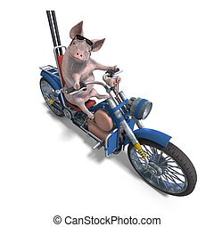 Piglet - rendering of a young pig riding a bike with...