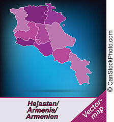 Map of Armenia with borders in violet