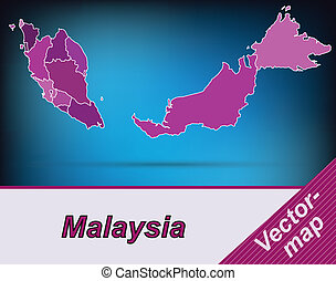 Map of Malaysia with borders in violet