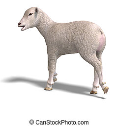 lamb - rendering of a young sheep with clipping path and...