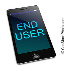End user concept. - Illustration depicting a phone with an...