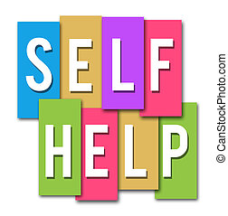 Self Help Colourful Stripes - Self Help text in white over...