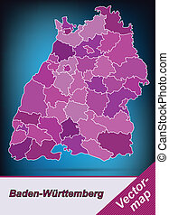 Map of Baden-Wuerttemberg with borders in violet