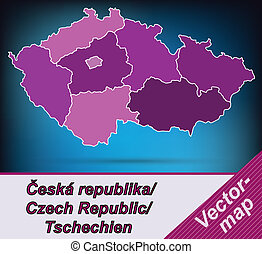 Map of Czech Republic with borders in violet