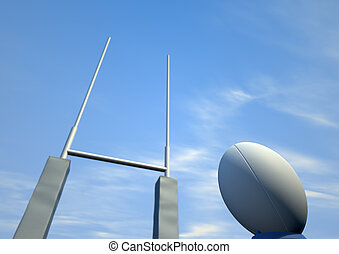 Rugby Ball Closeup Infront Of Posts - A perspective view of...